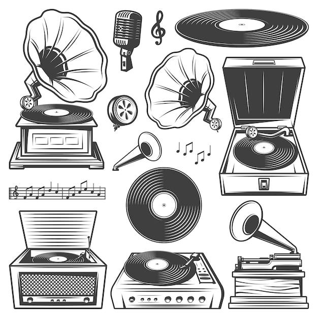 Ícones de gramofone retrô com toca-discos, toca-discos de vinil, fonógrafo e microfone, notas musicais em estilo vintage isoladas Vetor grátis