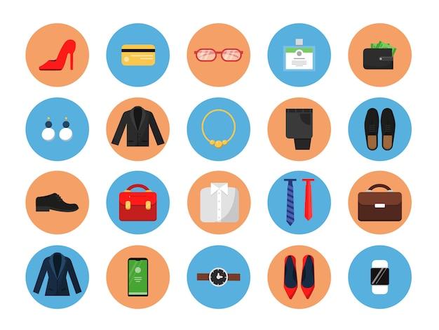 Ícones de guarda-roupa de negócios. roupas de estilo escritório para trabalho masculino e feminino moda casual saia terno jaqueta chapéu saco símbolos coloridos Vetor Premium