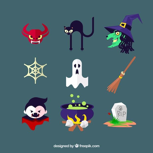 Ícones de halloween com caracteres e elementos típicos Vetor grátis