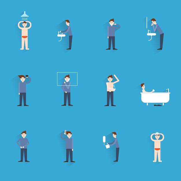 Ícones de higiene planas com figuras de pessoas lavando o corpo limpeza ilustração vetorial isolado Vetor Premium
