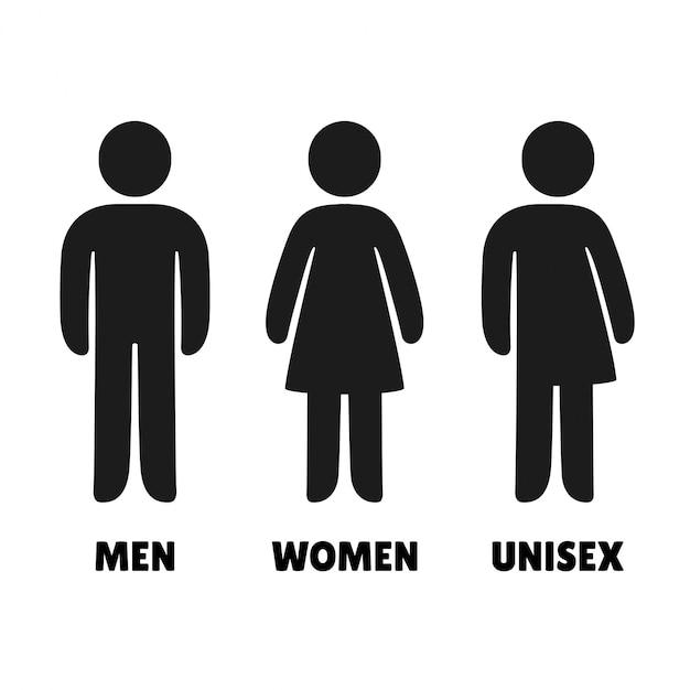 Ícones de homem, mulher e unisex. sinais de banheiro em estilo arredondado simples. Vetor Premium