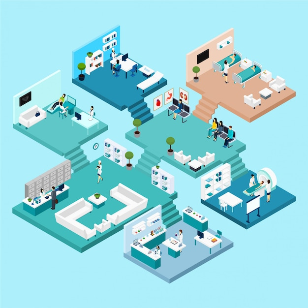 Ícones de hospital esquema isométrico com diferentes armários e quartos Vetor grátis