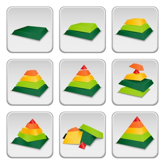 Ícones de indicador de status da pirâmide Vetor grátis