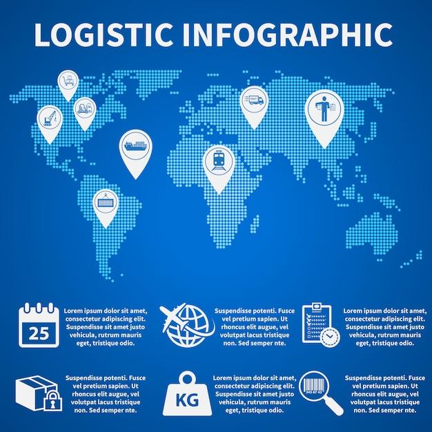 Ícones de infográfico logístico Vetor Premium