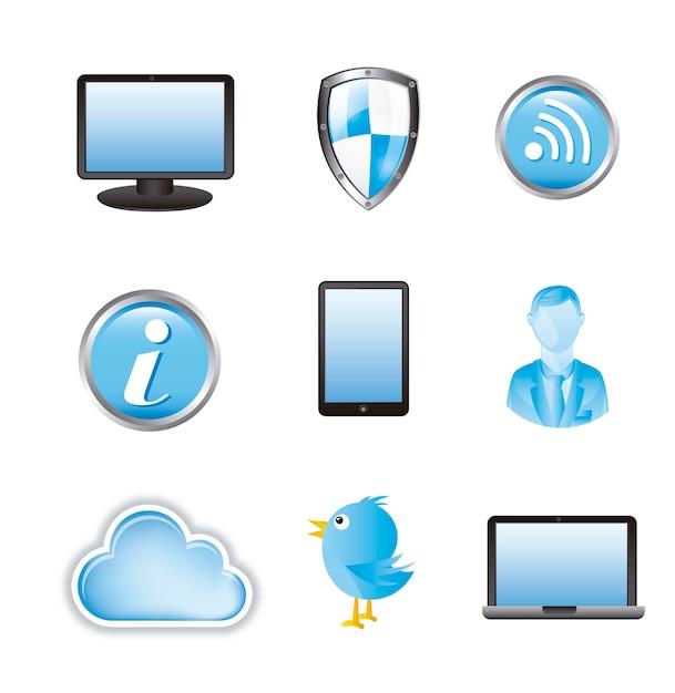 Ícones de informação de nuvem sobre ilustração vetorial de fundo branco Vetor Premium