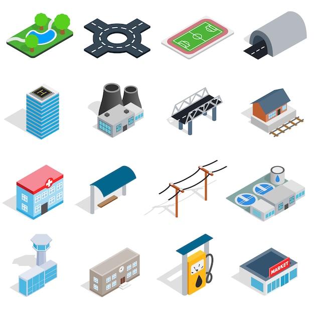 Ícones de infra-estrutura definidos no estilo 3d isométrico. cidade, jogo, cobrança, isolado, vetorial, ilustração Vetor Premium