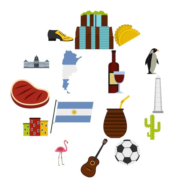 Ícones de itens de viagens argentina definido em estilo simples Vetor Premium