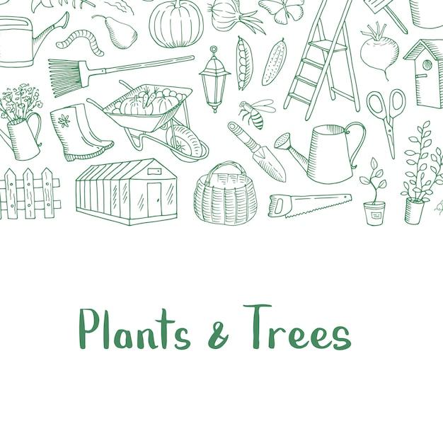 Ícones de jardinagem doodle Vetor Premium