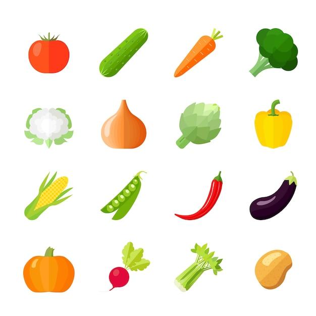 Ícones de legumes planos Vetor grátis
