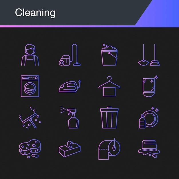 Ícones de limpeza Vetor Premium