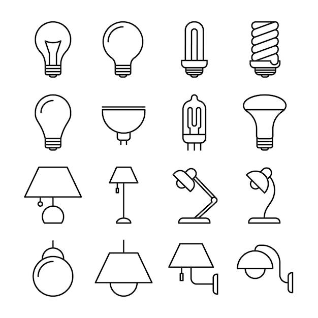 Ícones de linha da lâmpada Vetor Premium