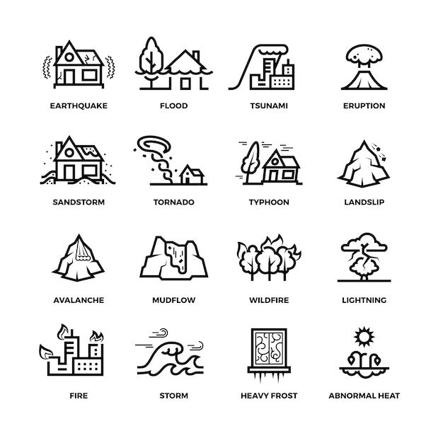 Ícones de linha de acidentes de desastres naturais e símbolos de danos Vetor Premium