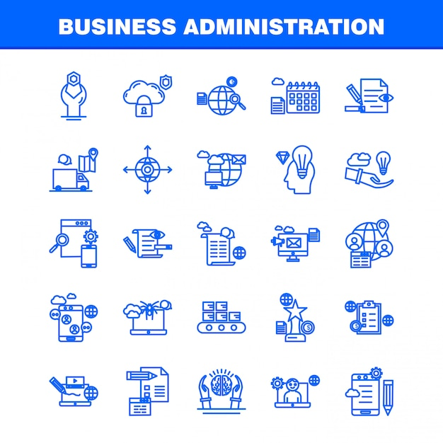 Ícones de linha de administração de empresas Vetor Premium