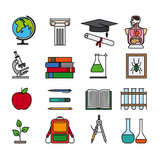 Ícones de linha de cor de educação Vetor Premium