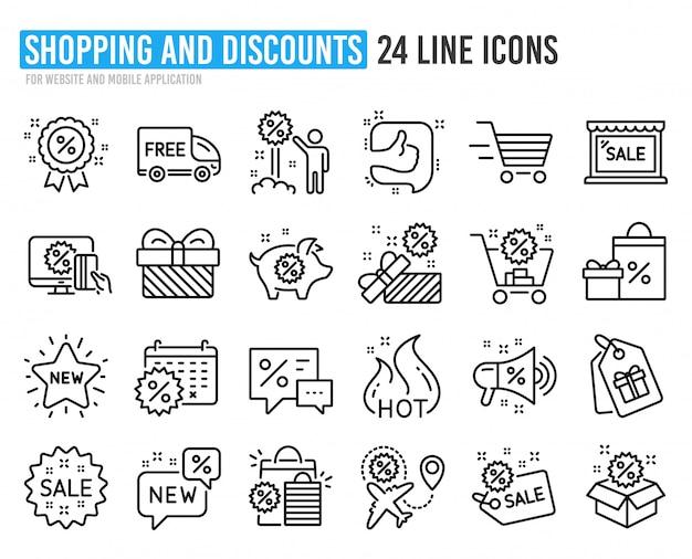 Ícones de linha de desconto. conjunto de compras, venda e novo. Vetor Premium