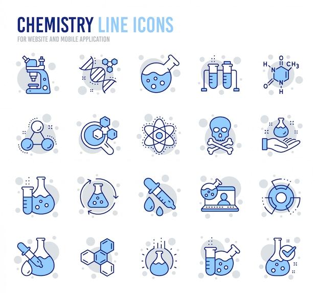 Ícones de linha de laboratório de química. fórmula química, microscópio e análise médica. Vetor Premium