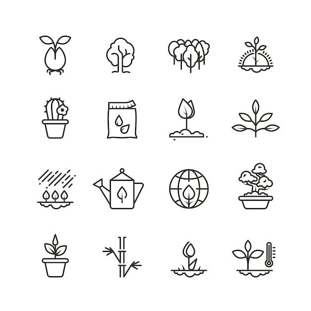 Ícones de linha de planta, plantio e sementes. sprout crescendo símbolos Vetor Premium