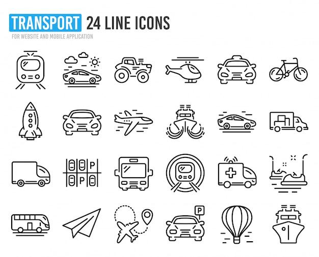 Ícones de linha de transporte. conjunto de táxi, helicóptero e trem. Vetor Premium