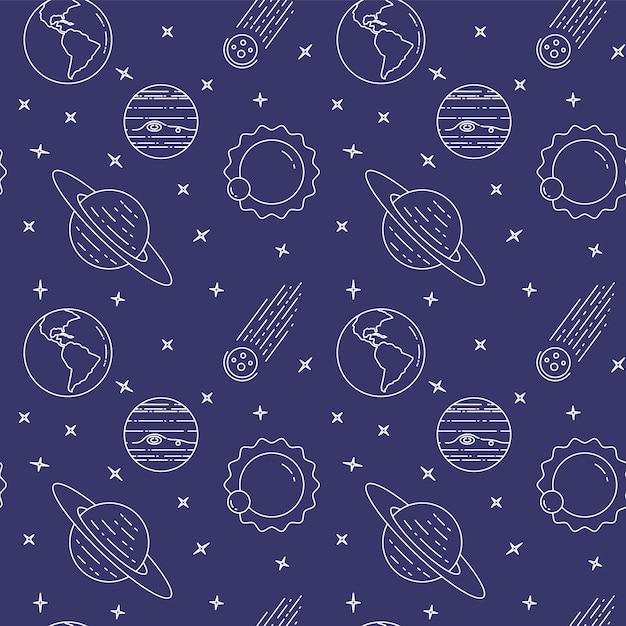 Ícones de linha de viagem espacial. elementos de planetas, asteróide, sol, terra. padrão sem emenda conceito de site, cartão, infográfico, anunciar papel de parede site têxtil vector ilustração Vetor Premium