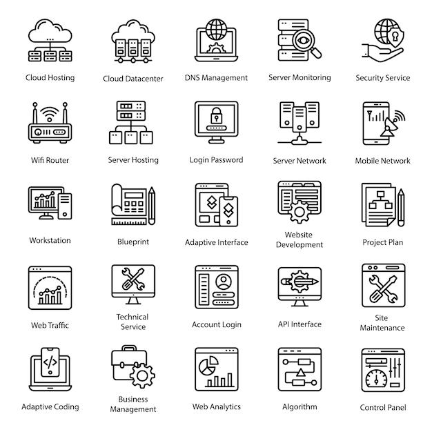 Ícones de linha de web design Vetor Premium