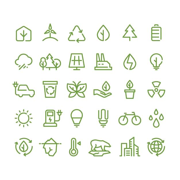 Ícones de linha eco e ambiente verde, ecologia e símbolos de contorno de reciclagem Vetor Premium