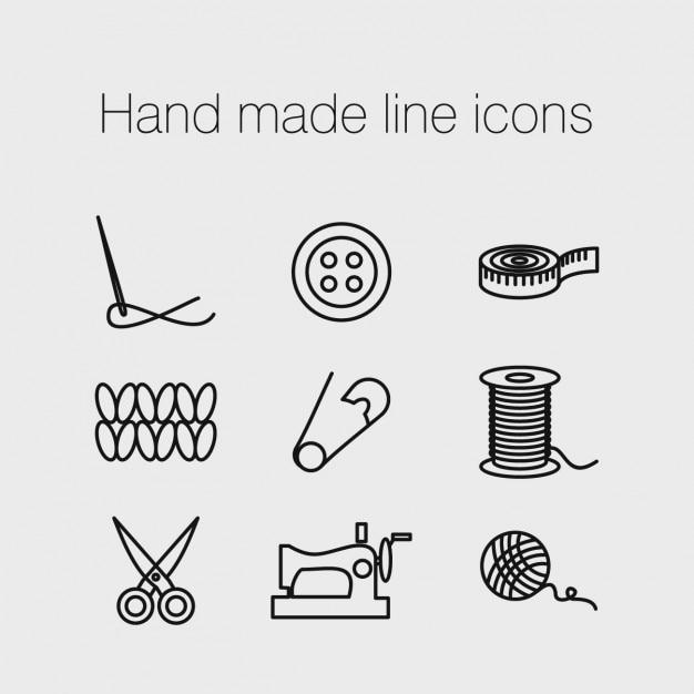 Ícones de linha feitas à mão Vetor grátis