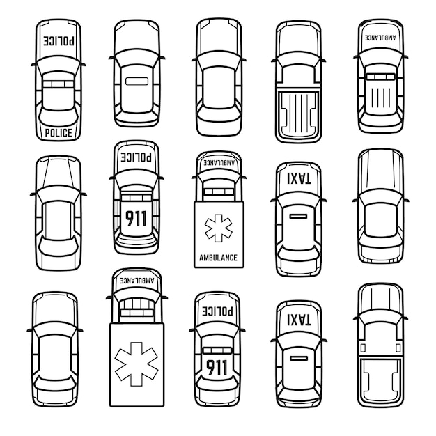 Ícones de linha fina de vista superior de carros Vetor Premium
