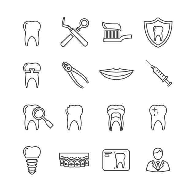 Ícones de linha médica de odontologia de dentes Vetor Premium
