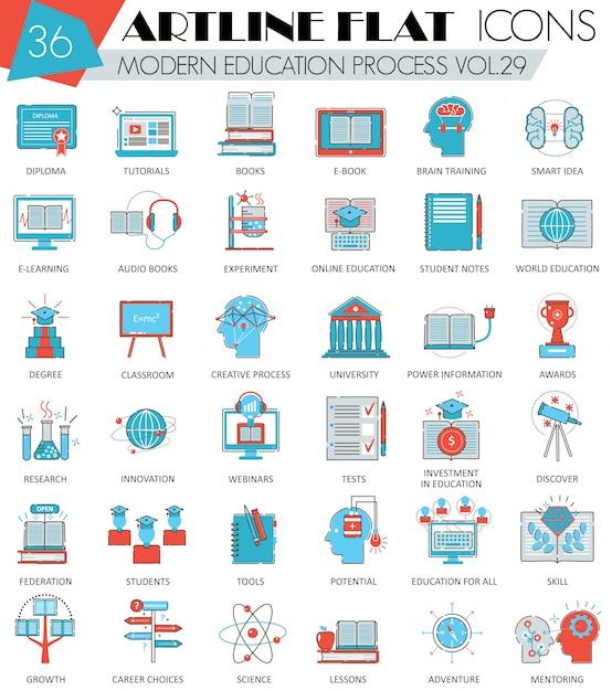 Ícones de linha plana de educação on-line moderno Vetor Premium