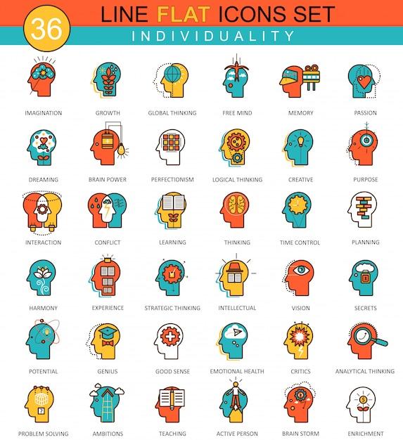 Ícones de linha plana de individualidade de personalidade de mentalidade humana Vetor Premium