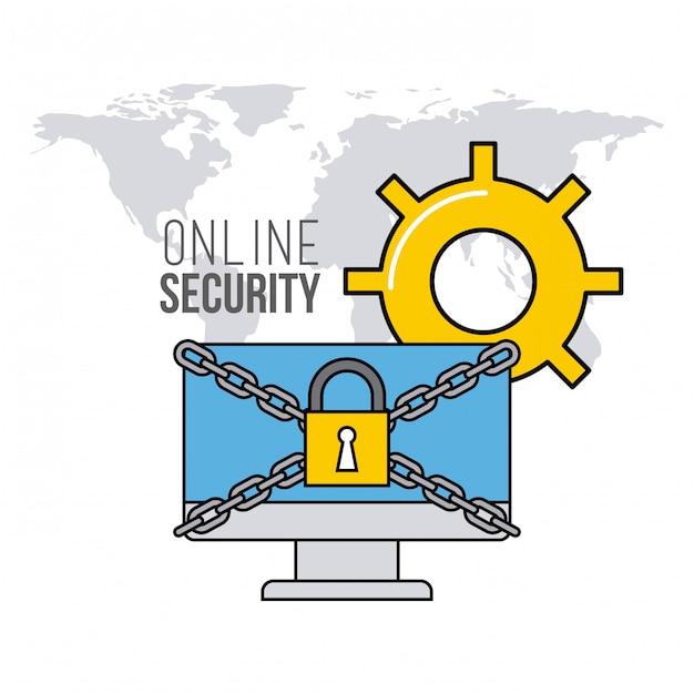 Ícones de linha plana de segurança on-line Vetor Premium