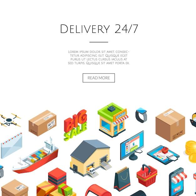 Ícones de logística e entrega isométricos. comércio na internet 3d Vetor Premium