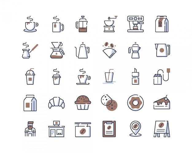 Ícones de loja de café de linha de cor Vetor Premium