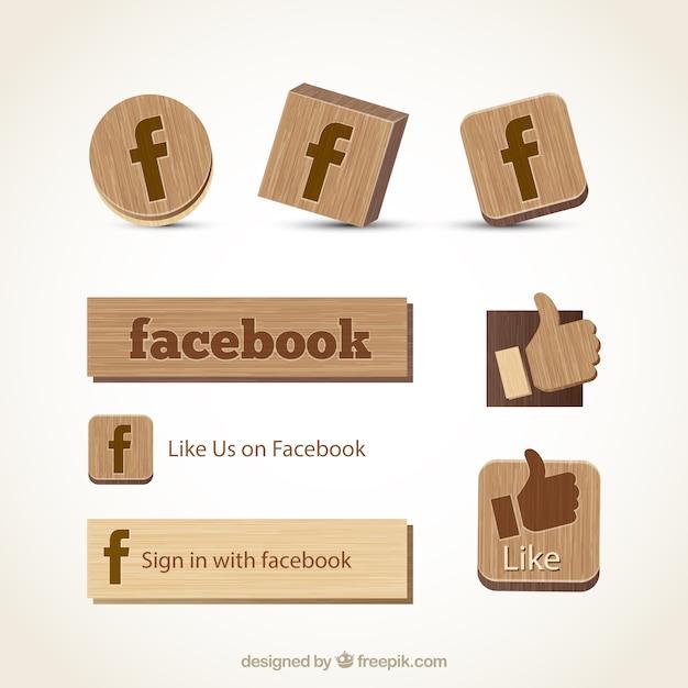 Ícones de madeira facebook Vetor grátis