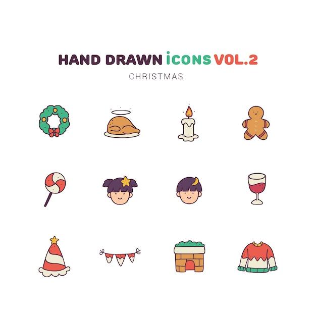 Ícones de mão desenhada cor cheia de natal Vetor Premium
