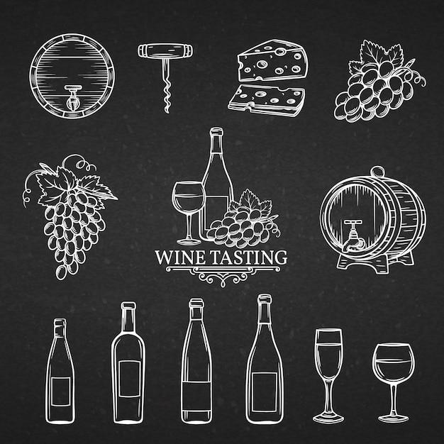 Ícones de mão desenhada de vinho. Vetor Premium