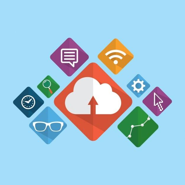 Ícones de marketing digital embalar Vetor grátis