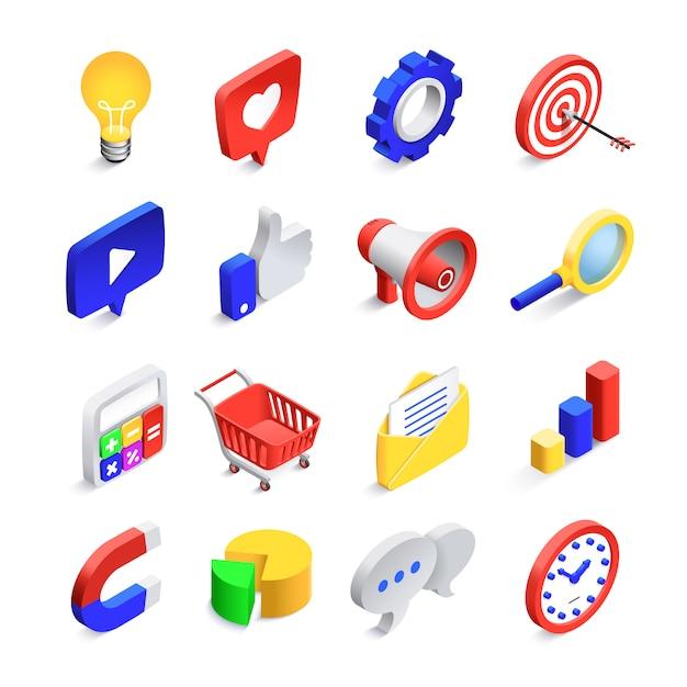 Ícones de marketing sociais 3d. seo web isométrica gosta de sinal, rede de correio comercial e site pesquisa botão vector coleção de ícone Vetor Premium