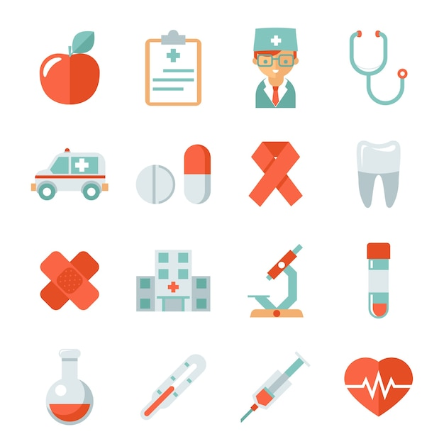 Ícones de medicina e saúde. hospital e médico, maçã e dente, frasco e gesso, batimento cardíaco e microscópio, ilustração vetorial Vetor grátis