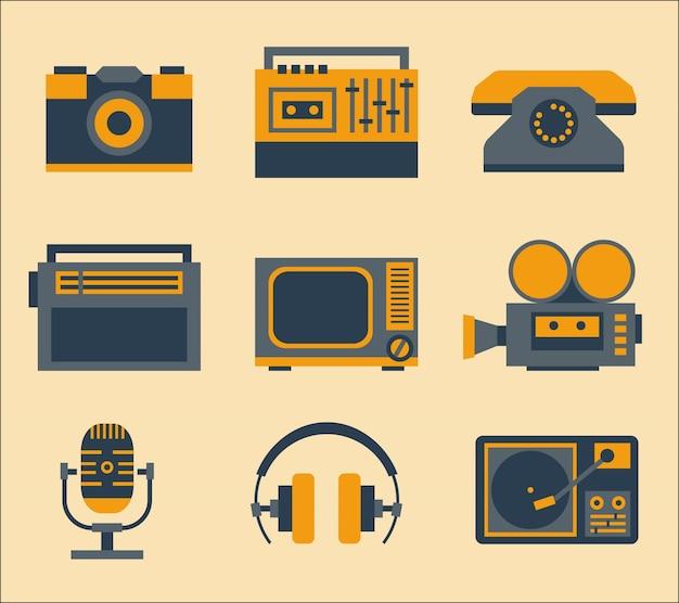 Ícones de mídia retro Vetor grátis