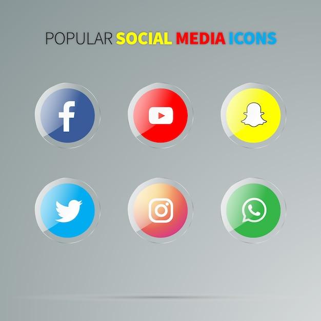 Ícones de mídia social brilhante Vetor Premium