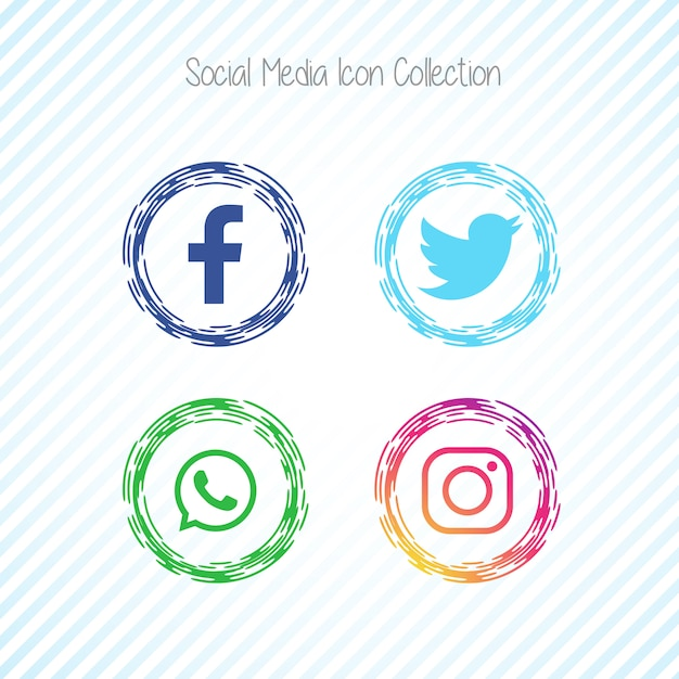 Ícones de mídia social criativa facebook Vetor grátis