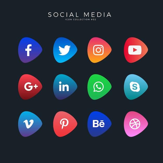 Ícones de mídia social de gradiente Vetor Premium
