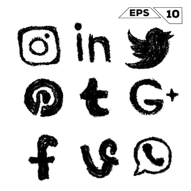 Ícones de mídia social desenhados à mão, isolados no branco Vetor Premium