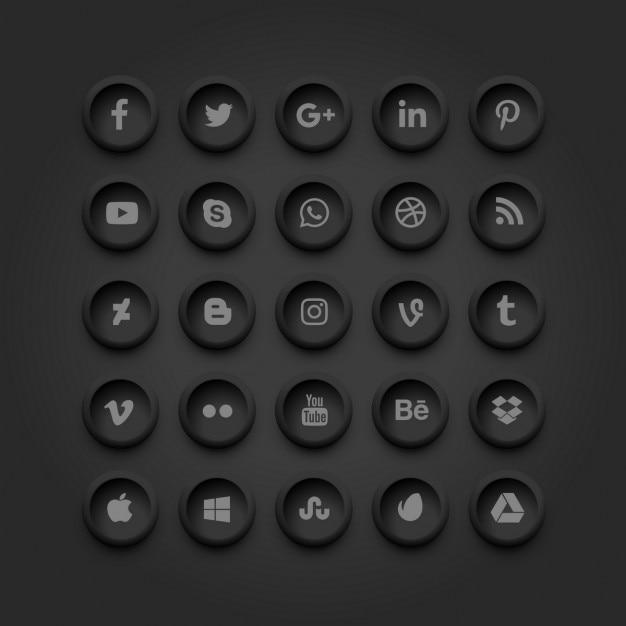 Ícones de mídia social escuras Vetor grátis