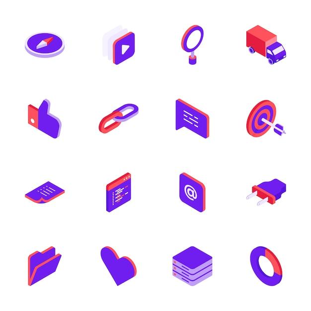 Ícones de mídia social isométrica definir estilo 3d Vetor Premium
