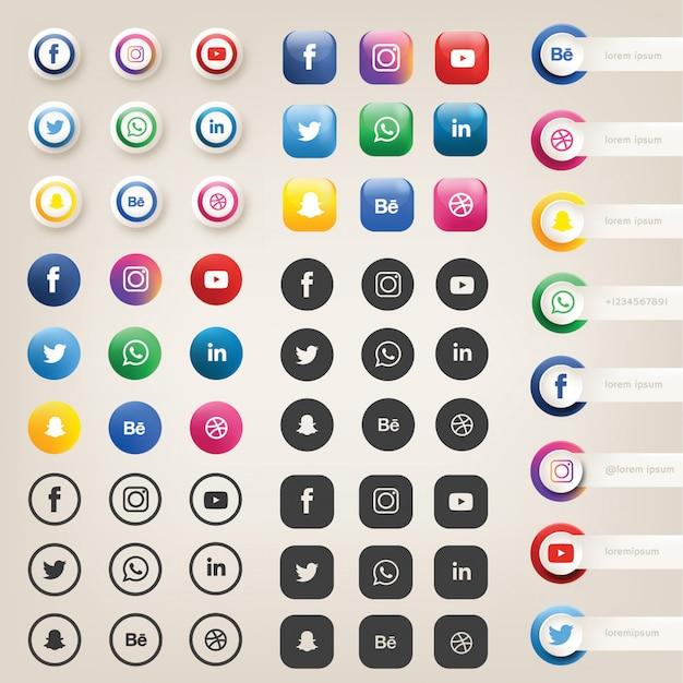 Ícones de mídia social ou logotipos Vetor Premium