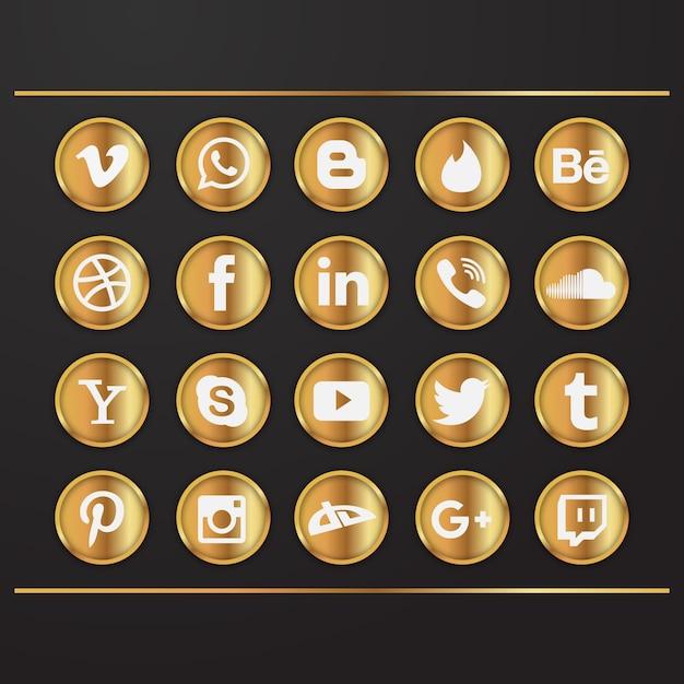 Ícones de mídia social ouro Vetor grátis