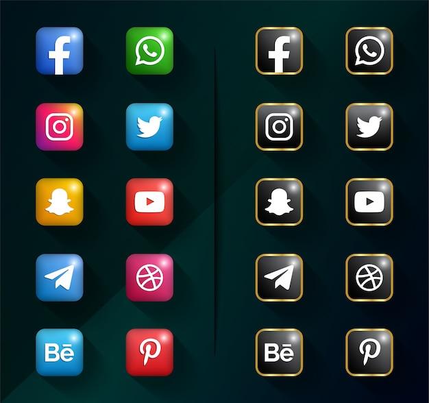 Ícones de mídia social. pacote de logotipo de mídia social Vetor Premium