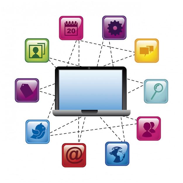 Ícones de mídia social sobre ilustração vetorial de fundo azul Vetor Premium